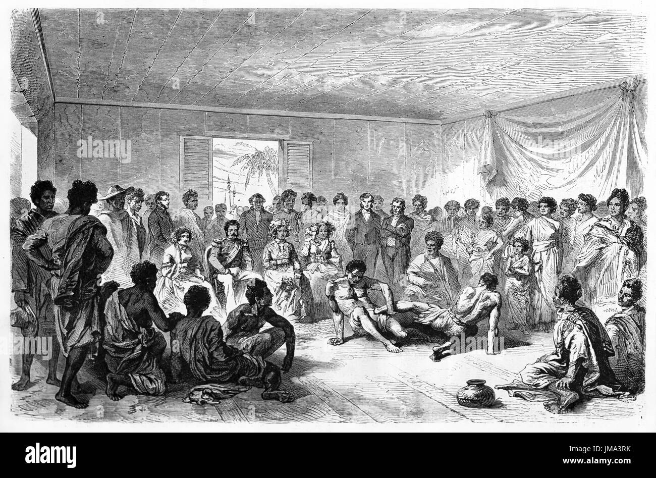 Old illustration of Malgasy wrestlers fighting indoors surrounded by
