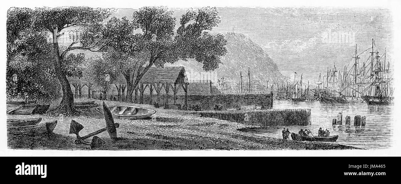 Old view of Port Louis, capital city of Mauritius. Created by Bérard, published on Le Tour du Monde, Paris, 1861 - Stock Image