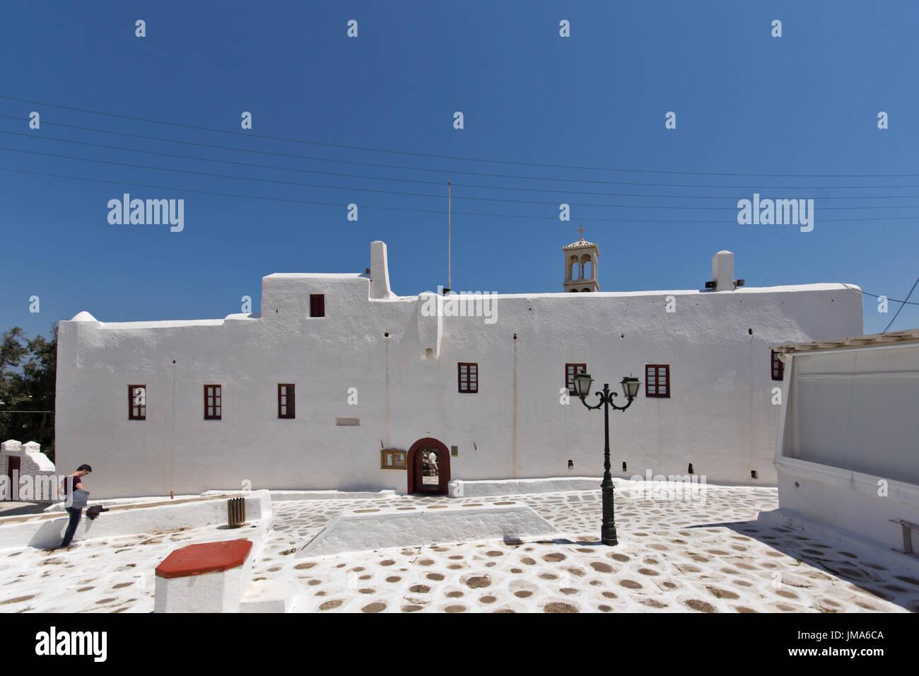 Town of Ano Mera, island of Mykonos, Cyclades Islands, Greece Stock Photo