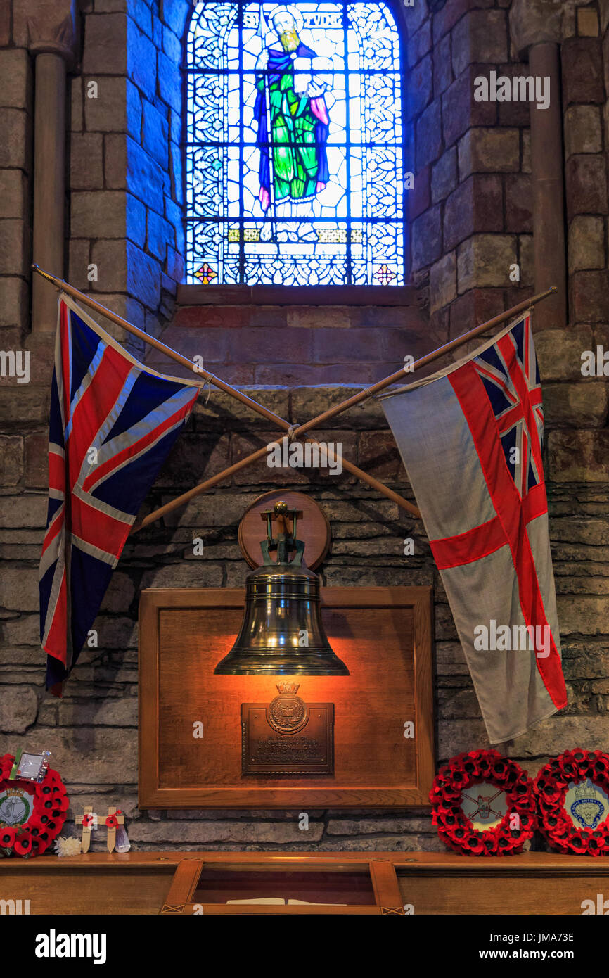 relic with HMS Royal Oak ship bell, St Magnus Cathedral, Kirkwall city, Orkney Mainland, Scotland, United Kingdom - Stock Image