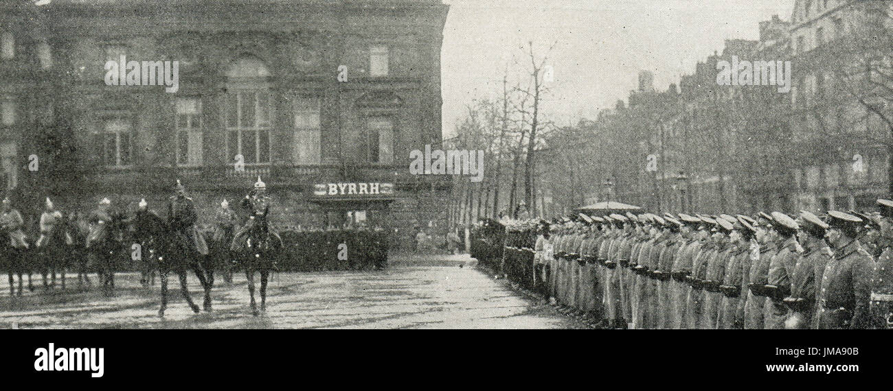 Prince Rupert of Bavaria inspecting German forces in occupied Lille - Stock Image