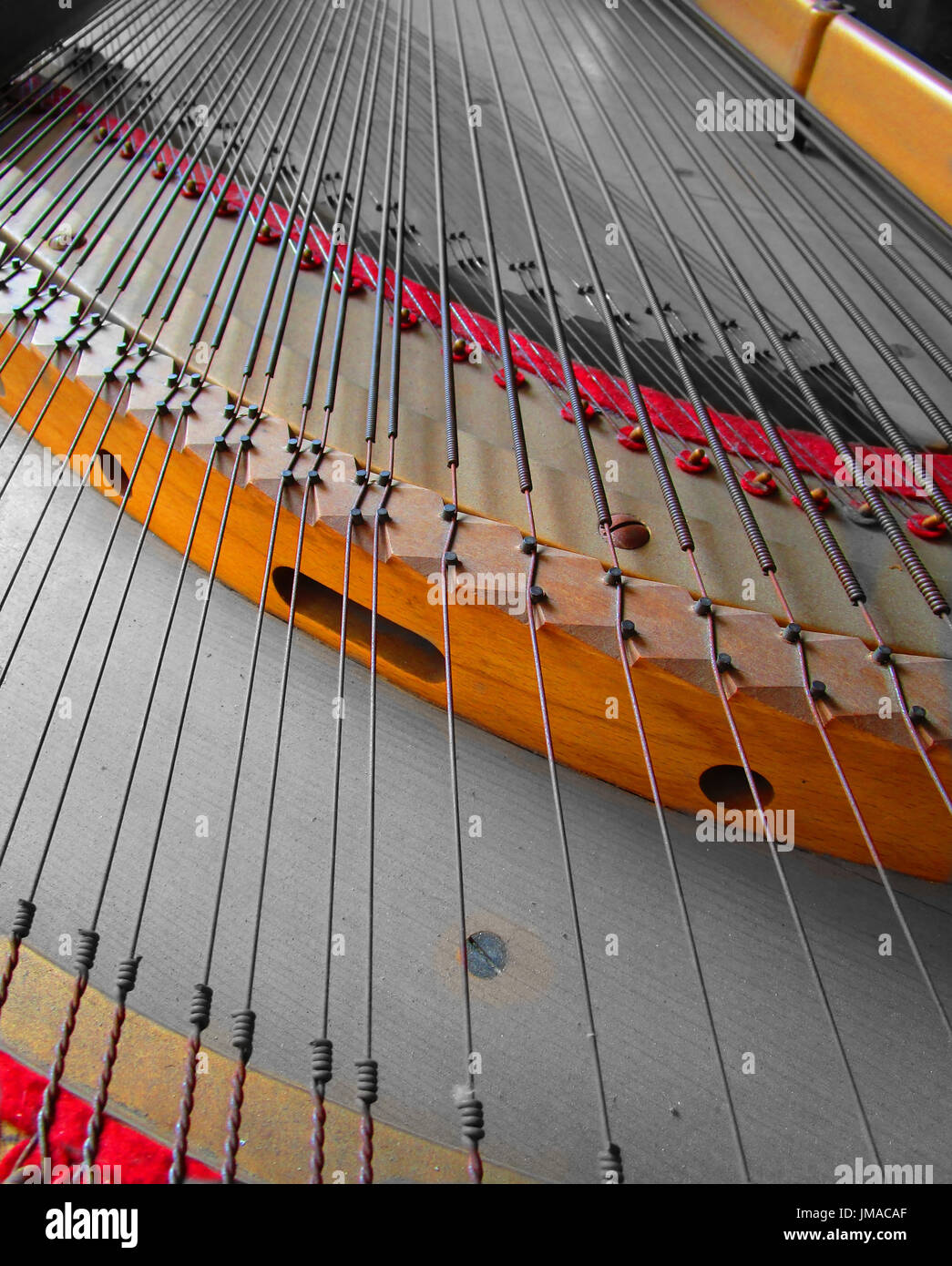 Piano, detail ropes and intense colors - Stock Image