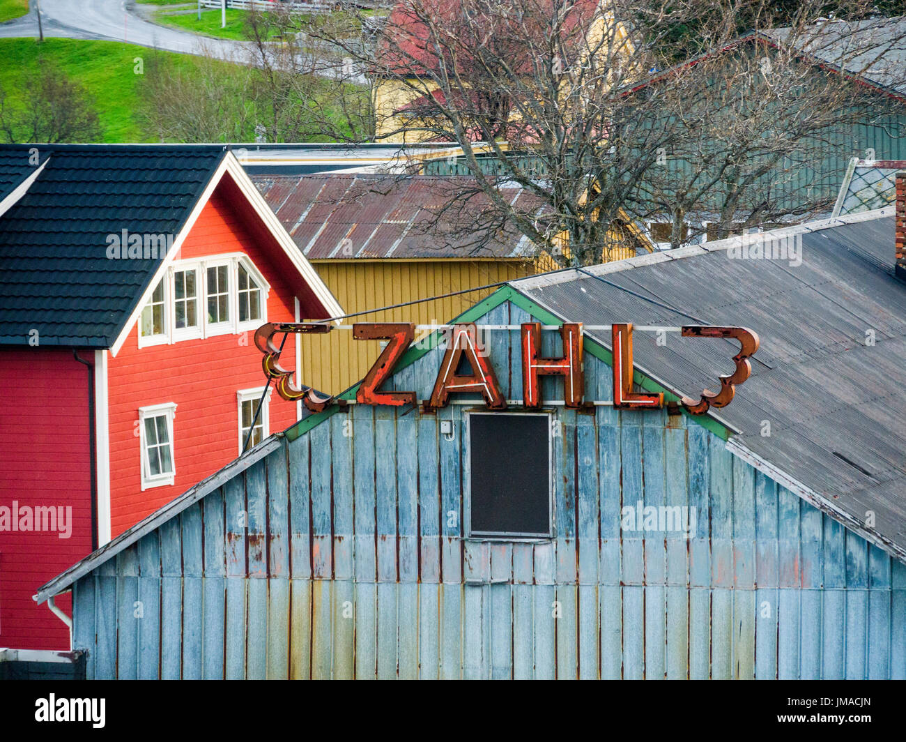 Wooden architecture in the village of Nesna, Nordland County, Norway. - Stock Image