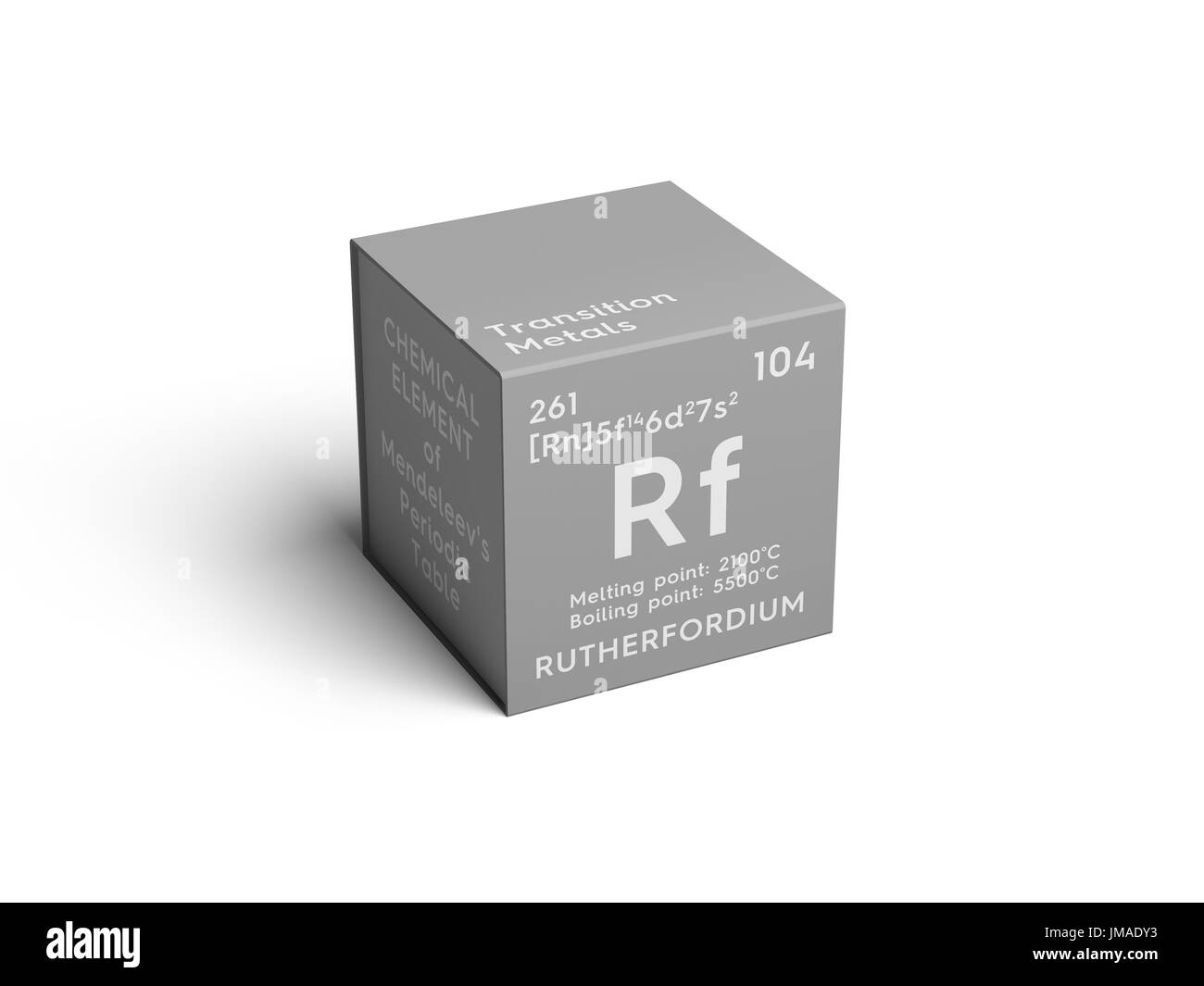 Rutherfordium. Transition metals. Chemical Element of Mendeleev's Periodic Table. Rutherfordium in square cube creative Stock Photo