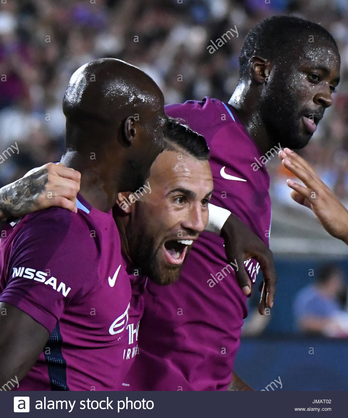 Los Angeles, California, USA. 26th July, 2017. Manchester City Defender Nicol''¡s Otamendi, center, reacts after scoring against Real Madrid FC in the second half during the International Champions Cup Soccer match at the Los Angeles Memorial Coliseum on Wednesday, July 26, 2017 in Los Angeles. (Photo by Keith Birmingham, Pasadena Star-News/SCNG) Credit: San Gabriel Valley Tribune/ZUMA Wire/Alamy Live News - Stock Image
