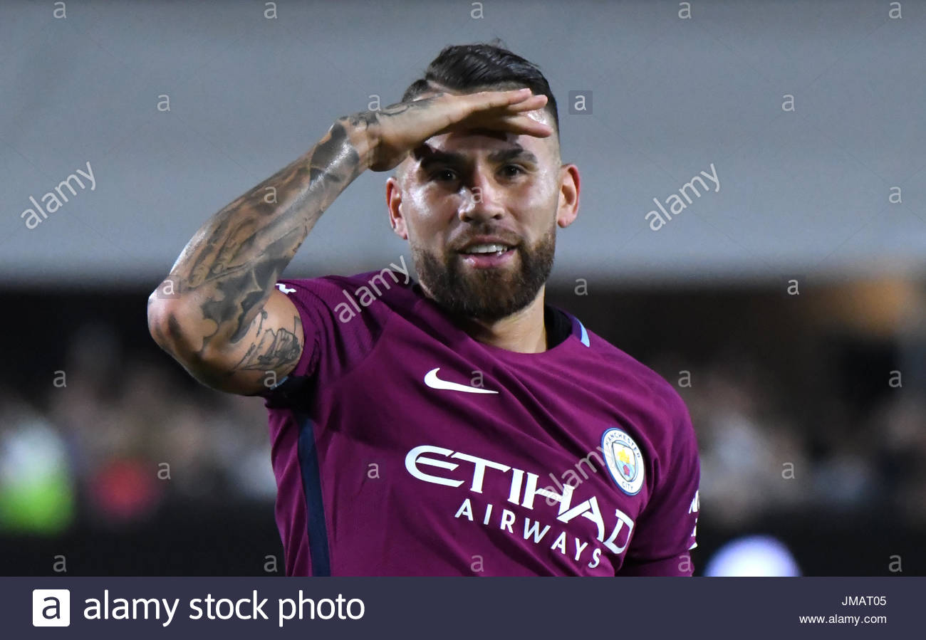 Los Angeles, California, USA. 26th July, 2017. Manchester City Defender Nicol''¡s Otamendi reacts after scoring against Real Madrid FC in the second half during the International Champions Cup Soccer match at the Los Angeles Memorial Coliseum on Wednesday, July 26, 2017 in Los Angeles. (Photo by Keith Birmingham, Pasadena Star-News/SCNG) Credit: San Gabriel Valley Tribune/ZUMA Wire/Alamy Live News - Stock Image