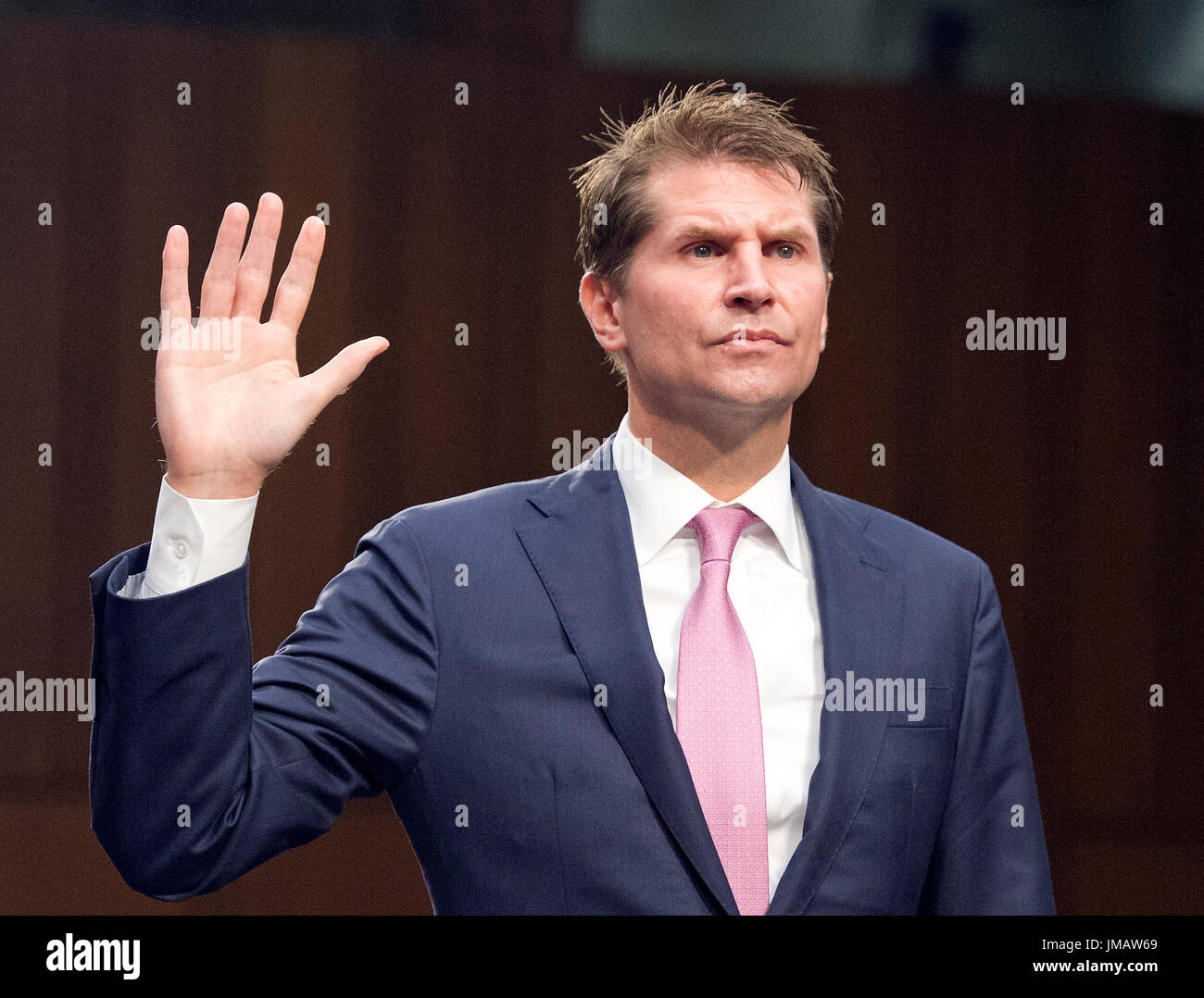 Washington, Us. 26th July, 2017. E.W. 'Bill' Priestap, Assistant Director, Counterintelligence Division, Federal Bureau Of Investigation (FBI), is sworn-in to testify before the US Senate Committee on the Judiciary oversight hearing to examine the Foreign Agents Registration Act (FARA) and attempts to influence US elections, focusing on lessons learned from current and prior administrations on Capitol Hill in Washington, DC on Wednesday, July 26, 2017. Credit: Ron Sachs/CNP - NO WIRE SERVICE - Photo: Ron Sachs/Consolidated/dpa/Alamy Live News - Stock Image