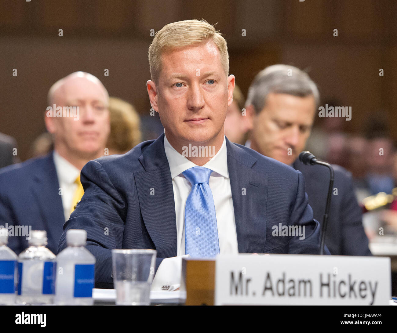 Washington, Us. 26th July, 2017. Adam Hickey, Deputy Assistant Attorney General, National Security Division, United States Department Of Justice appears to testify before the US Senate Committee on the Judiciary oversight hearing to examine the Foreign Agents Registration Act (FARA) and attempts to influence US elections, focusing on lessons learned from current and prior administrations on Capitol Hill in Washington, DC on Wednesday, July 26, 2017. Credit: Ron Sachs/CNP - NO WIRE SERVICE - Photo: Ron Sachs/Consolidated/dpa/Alamy Live News - Stock Image