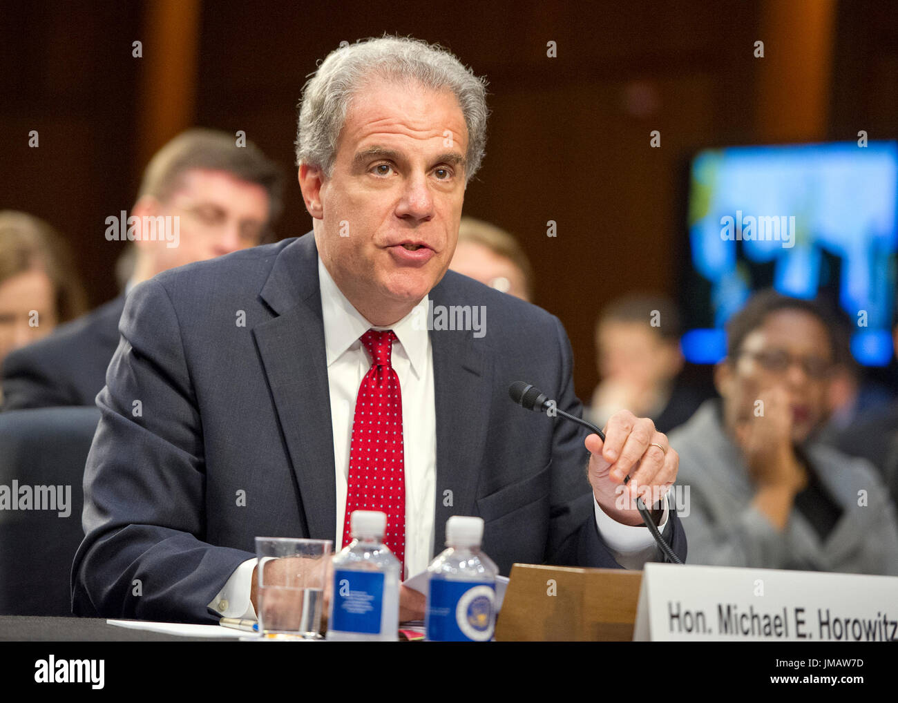 Washington, Us. 26th July, 2017. Michael Horowitz, Inspector General, United States Department Of Justice, appears to testify before the US Senate Committee on the Judiciary oversight hearing to examine the Foreign Agents Registration Act (FARA) and attempts to influence US elections, focusing on lessons learned from current and prior administrations on Capitol Hill in Washington, DC on Wednesday, July 26, 2017. Credit: Ron Sachs/CNP - NO WIRE SERVICE - Photo: Ron Sachs/Consolidated/dpa/Alamy Live News - Stock Image