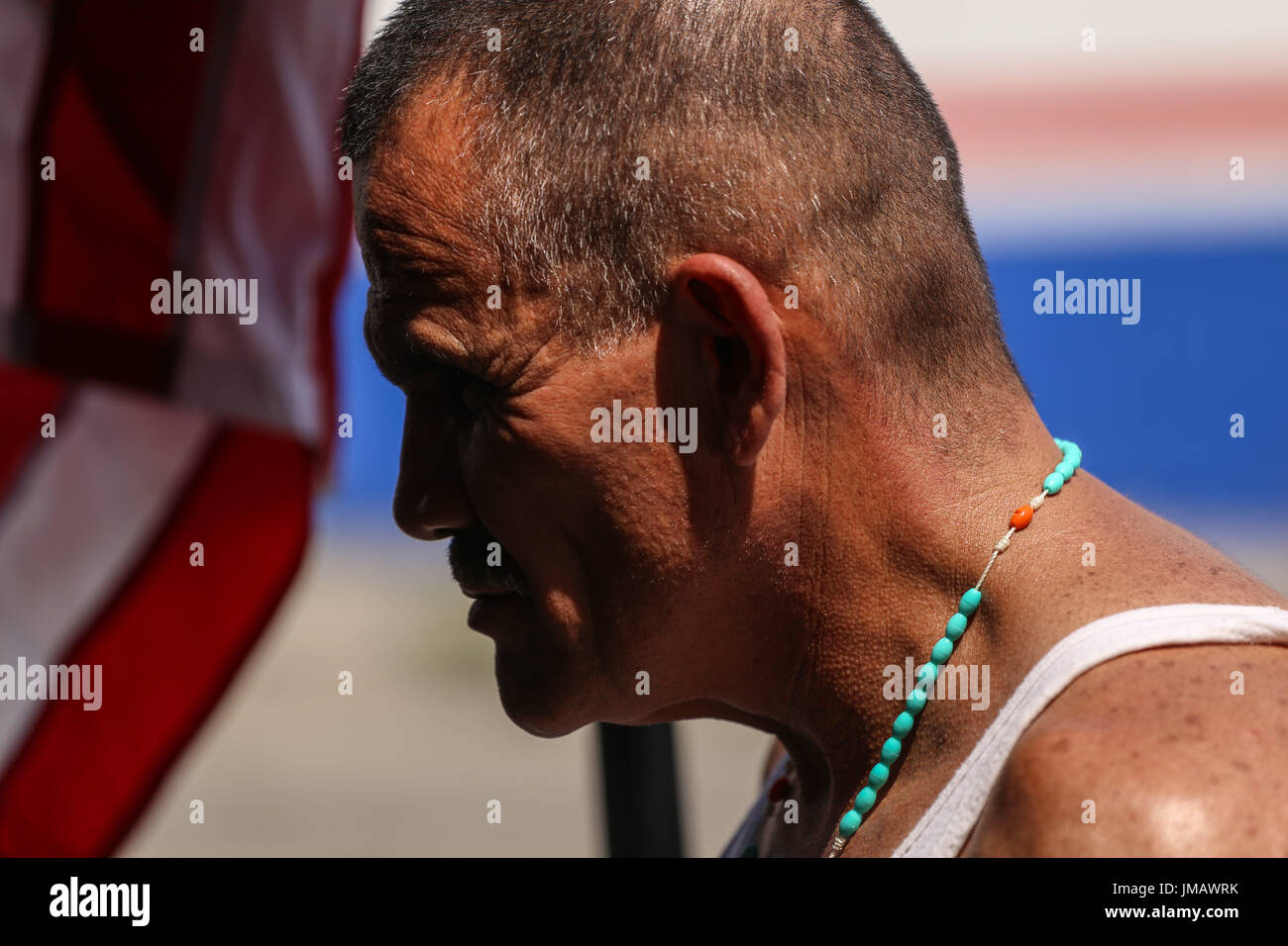 Tijuana, Baja California, Mexico. 16th July, 2017. ALEJANDRO GOMEZ, a deported U.S. Marine Corps veteran, speaks to American citizens visiting during a gathering outside the Deported Veterans Support House in Tijuana, Baja California, Mexico. Credit: Joel Angel Juarez/ZUMA Wire/Alamy Live News - Stock Image