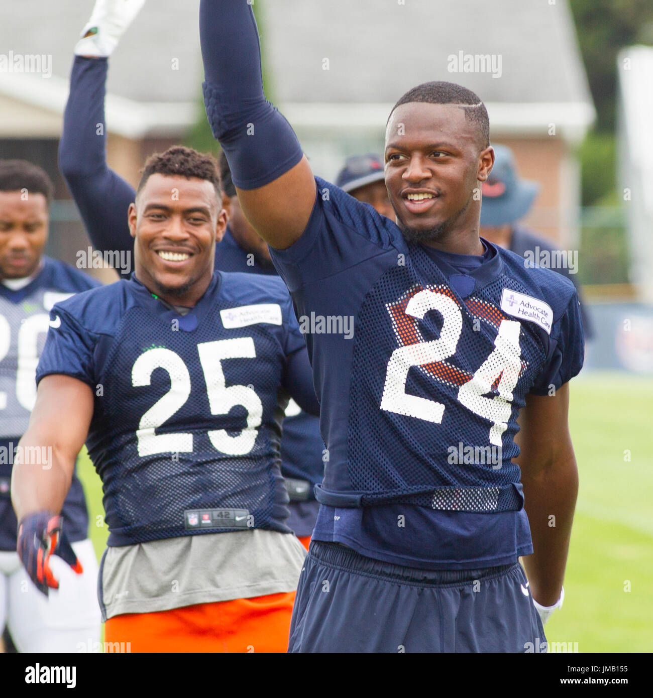 46332e17f Chicago Bears  24 Jordan Howard and  25 Marcus Cooper warm up during  training camp on the campus of Olivet Nazarene University
