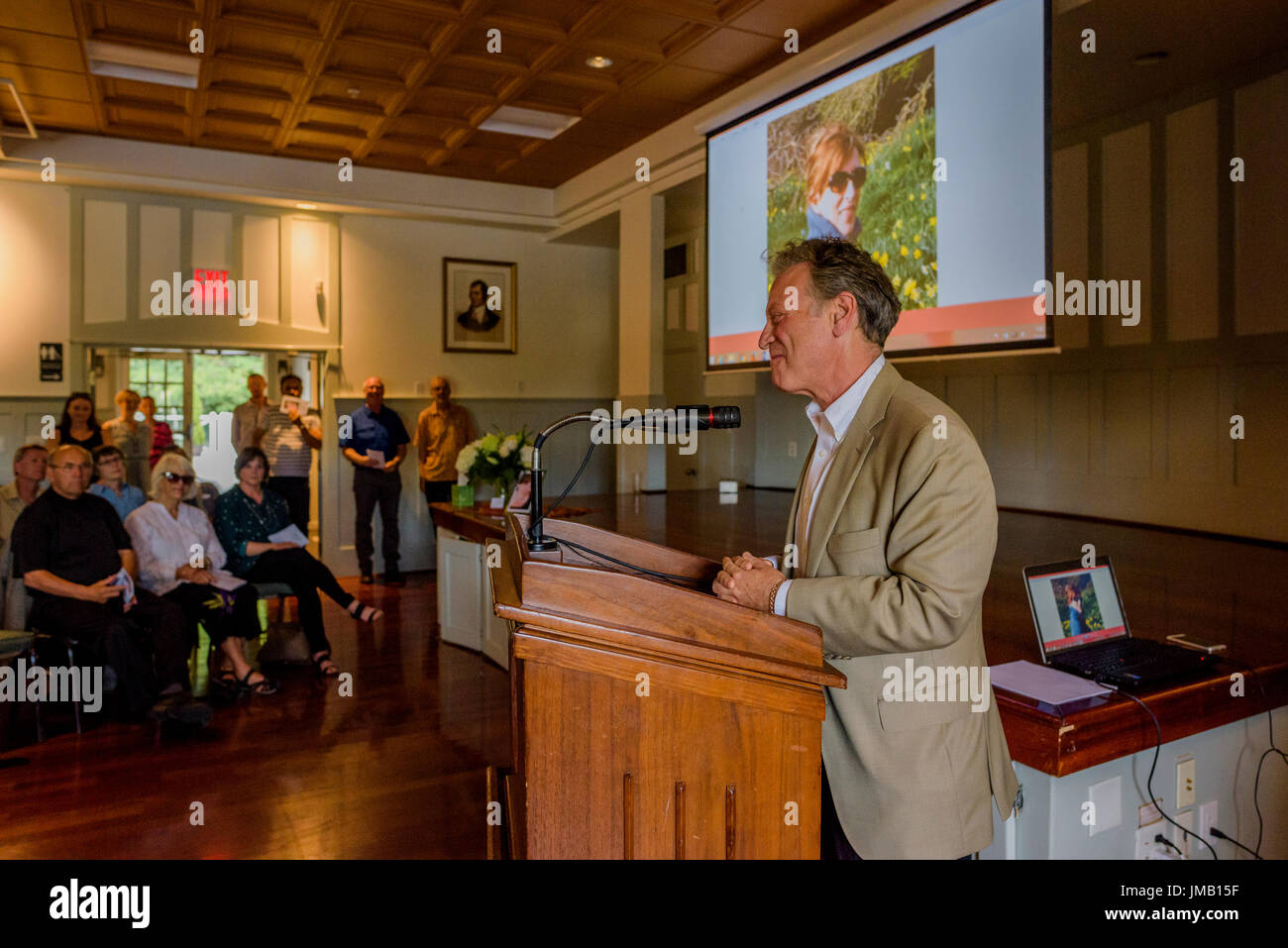Vancouver, Canada. 26th July, 2017. British Columbia's Environment Minister, George Heyman, speaks at the Celebration of Life for revered environmentalist and Wilderness Committee Director Gwen Barlee who passed away on June 21, 2017. Credit: Michael Wheatley/Alamy Live News - Stock Image