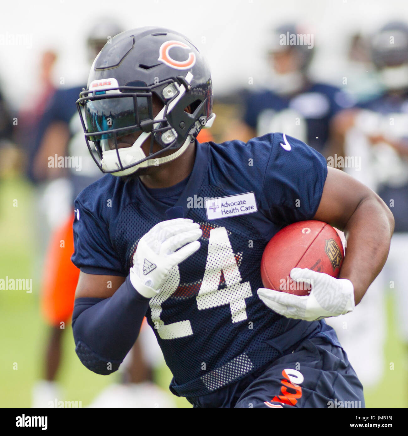 f04b227a3 Chicago Bears  24 Jordan Howard in action during training camp on the campus  of Olivet Nazarene University