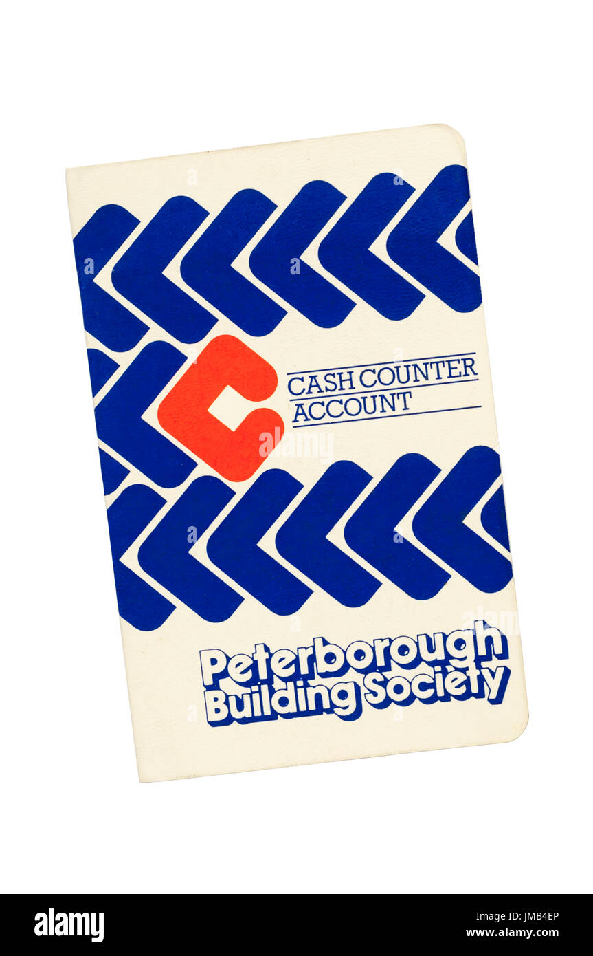 Building Society passbook. Peterborough Building Society. Cash Counter Account. 1986-1987. - Stock Image