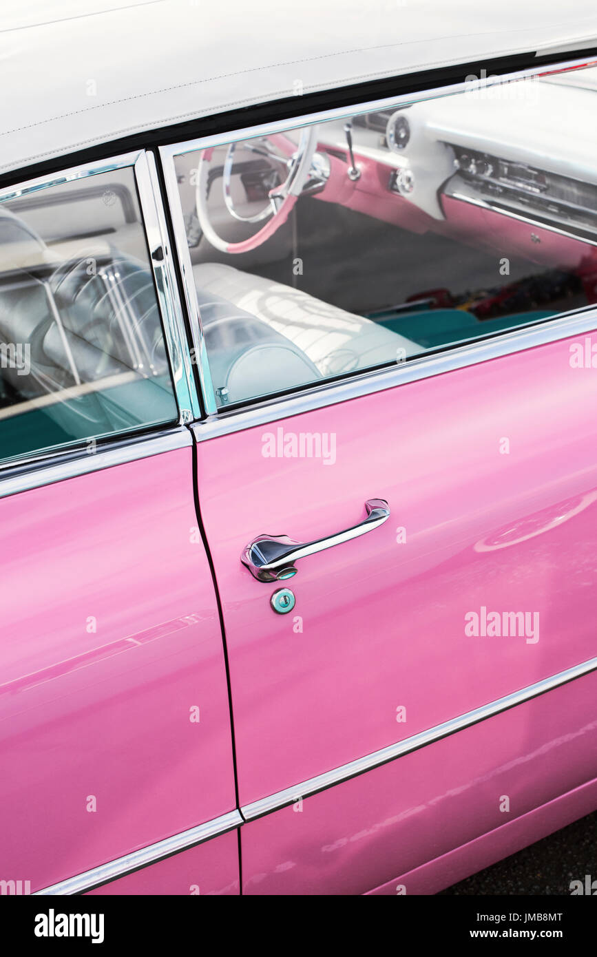 1959 Pink Cadillac at an american car show. Essex. UK Stock Photo