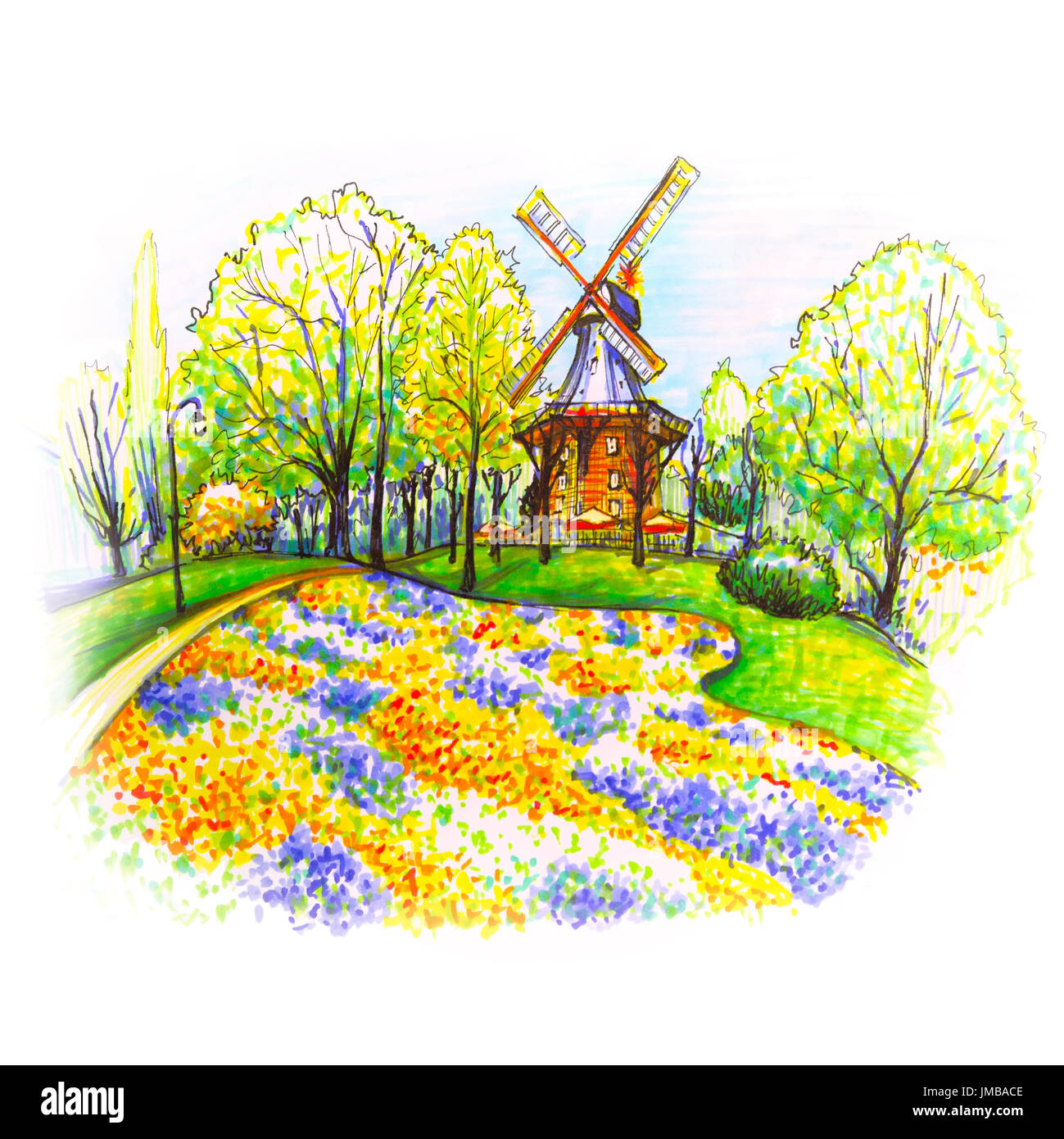 Popular city park Wallanlagen with Am Wall Windmill and colorful flowers foreground in Bremen, Germany. Hand drawn picture made markers and liner - Stock Image
