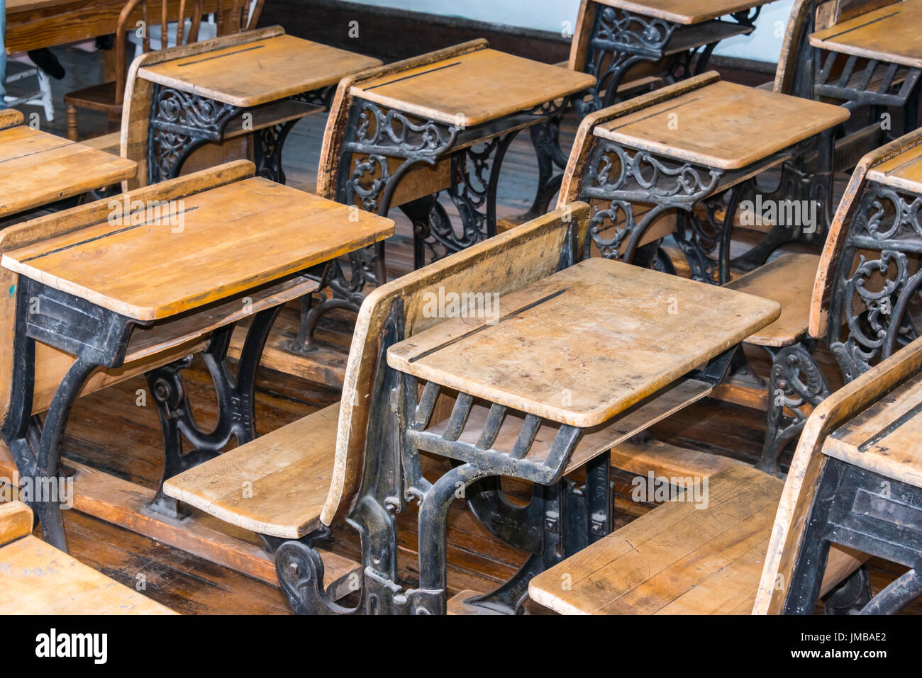 Vintage Wooden Desks in Classroom close Up Stock Photo - Alamy
