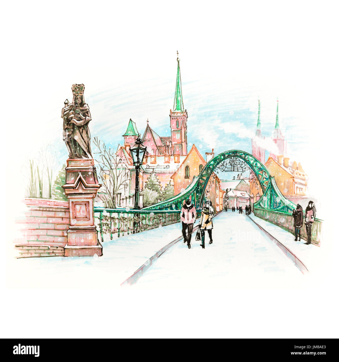 Cathedral Island or Ostrow Tumski with bridge, Cathedral of St. John and church of the Holy Cross and St. Bartholomew in Wroclaw, Poland. Hand drawn p - Stock Image