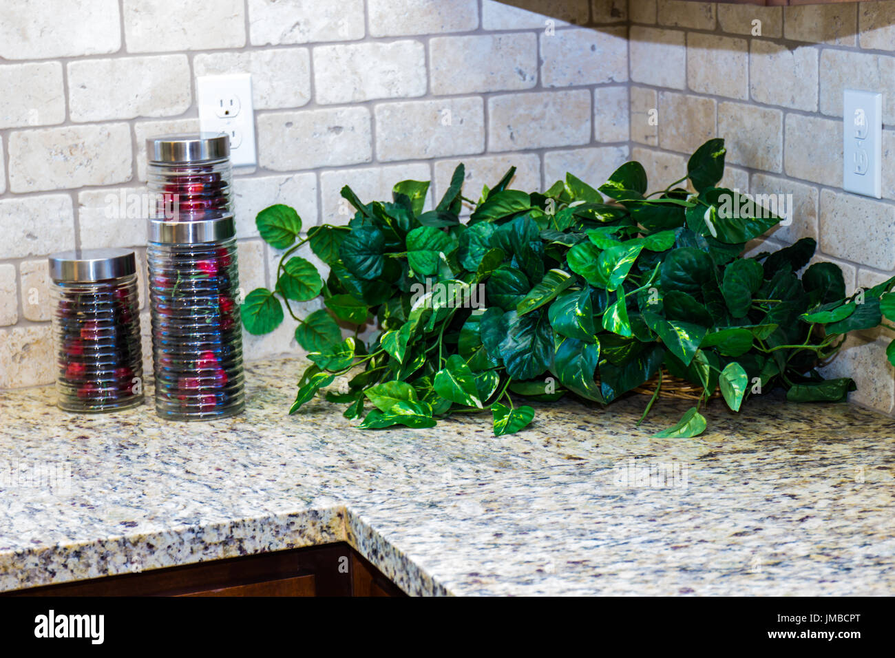 Modern Kitchen Counter With Plant & Canisters Stock Photo ...