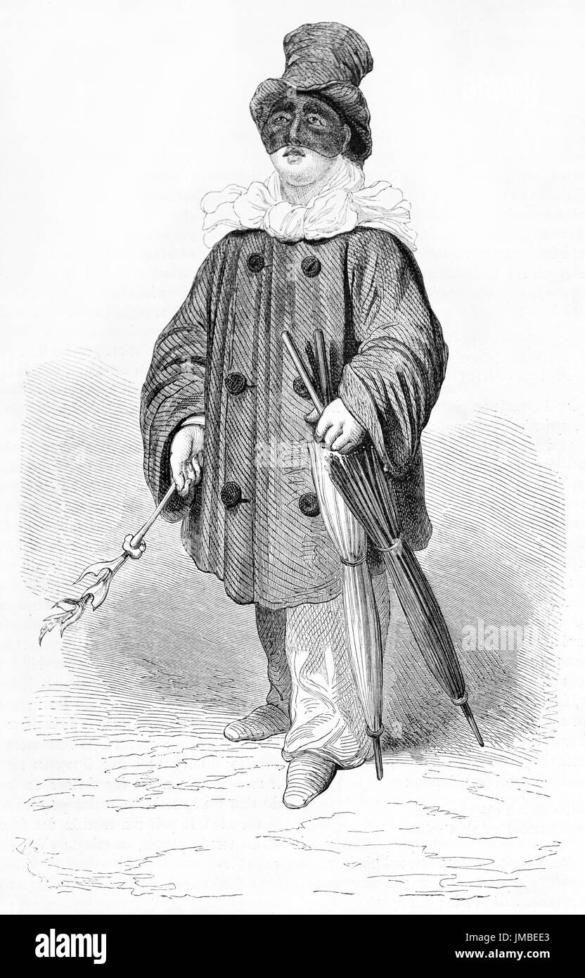 Old engraved portrait of Neapolitan actor Antonio Petito (1822 – 1876) in the role of Pulcinella in San Carlino theater, Neaples, Italy. - Stock Image