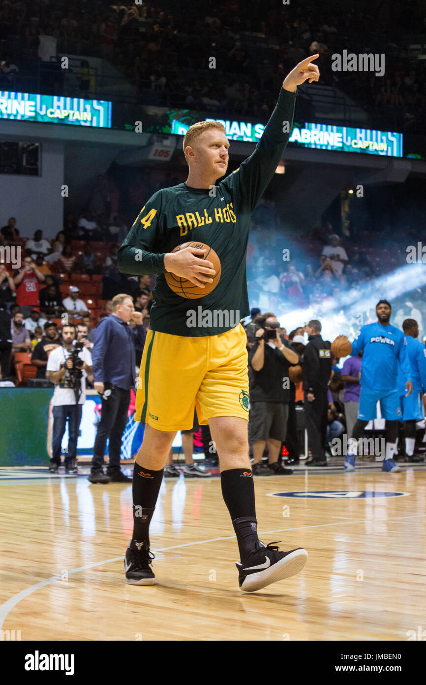 Captain Brian Scalabrine #4 Ball Hogs steps out onto court holding basketball acknowledges crowd before Game #1 against Power Big3 Week 5 3-on-3 tournament UIC Pavilion July 23,2017 Chicago,Illinois. - Stock Image
