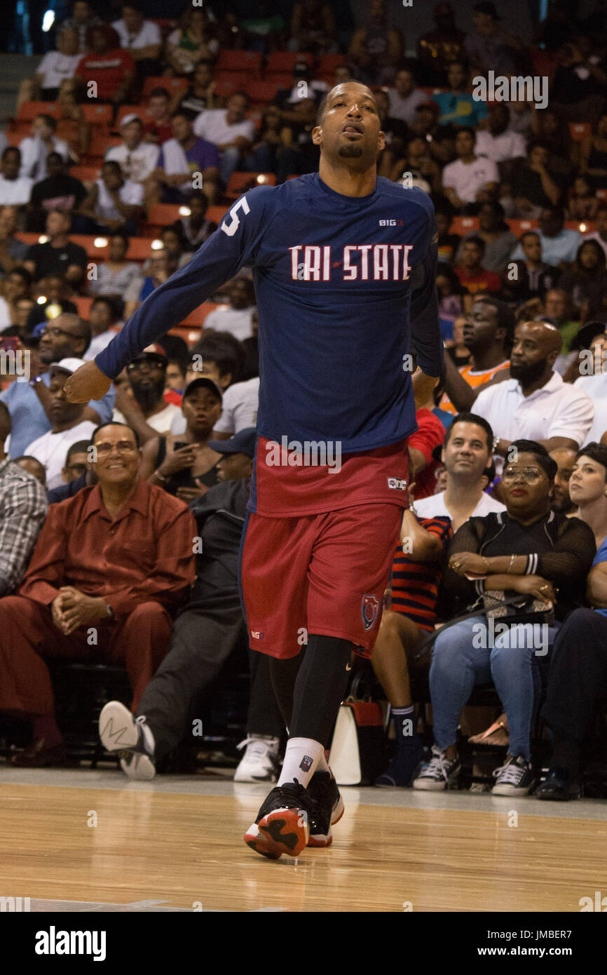 Xavier Silas #5 Tri-State warms up for Game #2 against Trilogy Big3 Week 5 3-on-3 tournament UIC Pavilion July 23,2017 Chicago,Illinois. - Stock Image