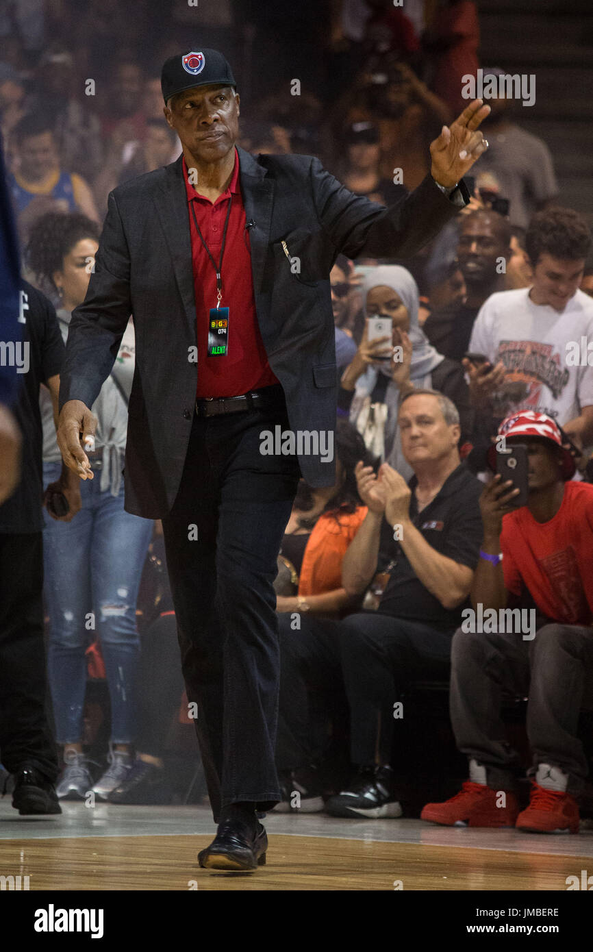 Coach Julius Erving Tri-State steps out onto court acknowledges crowd hand gesture before Game #2 against Trilogy Big3 Week 5 3-on-3 tournament UIC Pavilion July 23,2017 Chicago,Illinois. - Stock Image