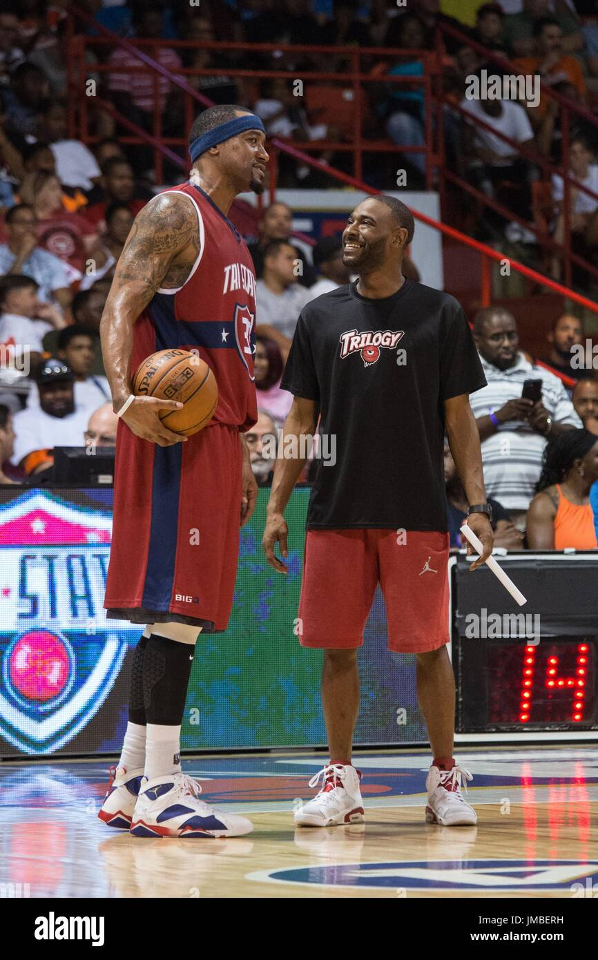 Lee Nailon #33 Tri-State smiles sidelines while having conversation someone Trilogy team during Game #2 Big3 Week 5 3-on-3 tournament UIC Pavilion July 23,2017 Chicago,Illinois. - Stock Image