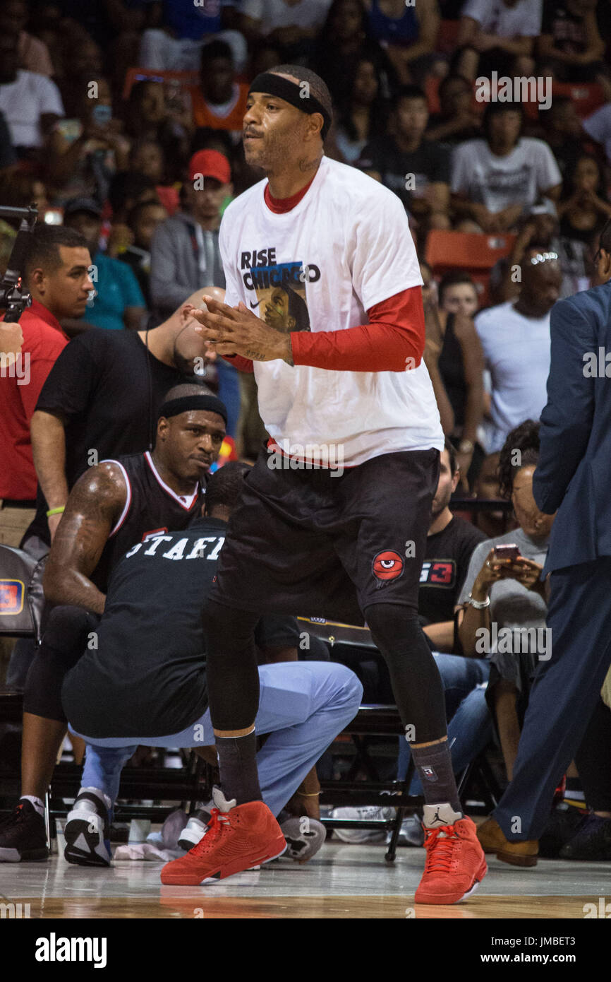 Captain Kenyon Martin #4 Trilogy warms up sidelines during Game #2 against Tri-State Big3 Week 5 3-on-3 tournament UIC Pavilion July 23,2017 Chicago,Illinois. - Stock Image