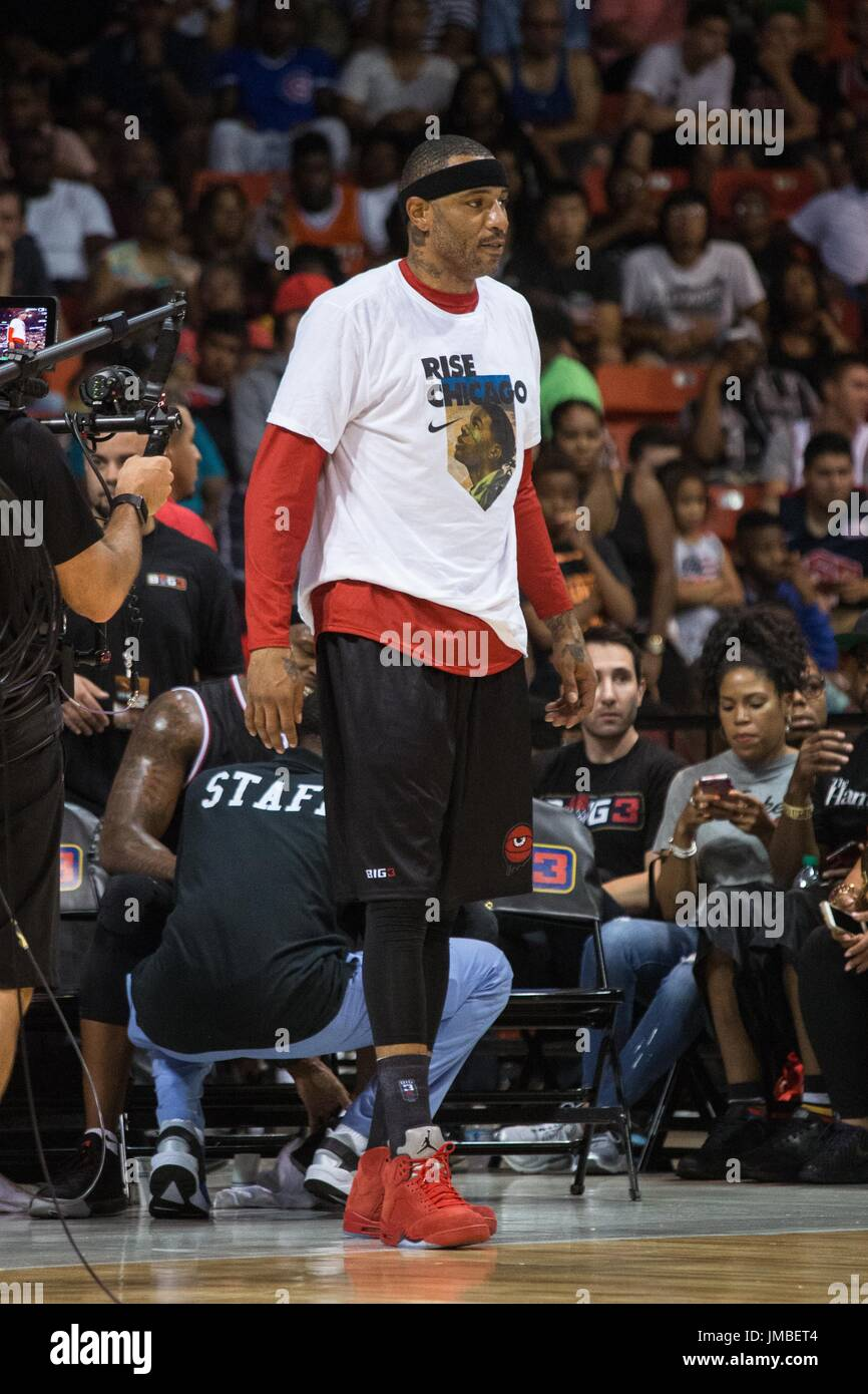 Captain Kenyon Martin #4 Trilogy watches sidelines during Game #2 against Tri-State Big3 Week 5 3-on-3 tournament UIC Pavilion July 23,2017 Chicago,Illinois. - Stock Image