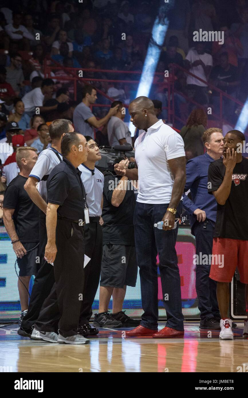 Injured Tri-State captain Jermaine O'Neal #7 talks ref sidelines before Game #2 against Trilogy Big3 Week 5 3-on-3 tournament UIC Pavilion July 23,2017 Chicago,Illinois. - Stock Image