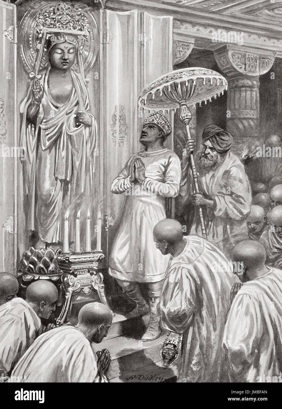 Kanishka inaugurates Mahayana Buddhism, 100 AD. Kanishka I aka Kanishka the Great. Second century emperor of the Kushan dynasty, famous for his military, political, and spiritual achievements. After the painting by Ambrose Dudley (1867-1951).  From Hutchinson's History of the Nations, published 1915. - Stock Image