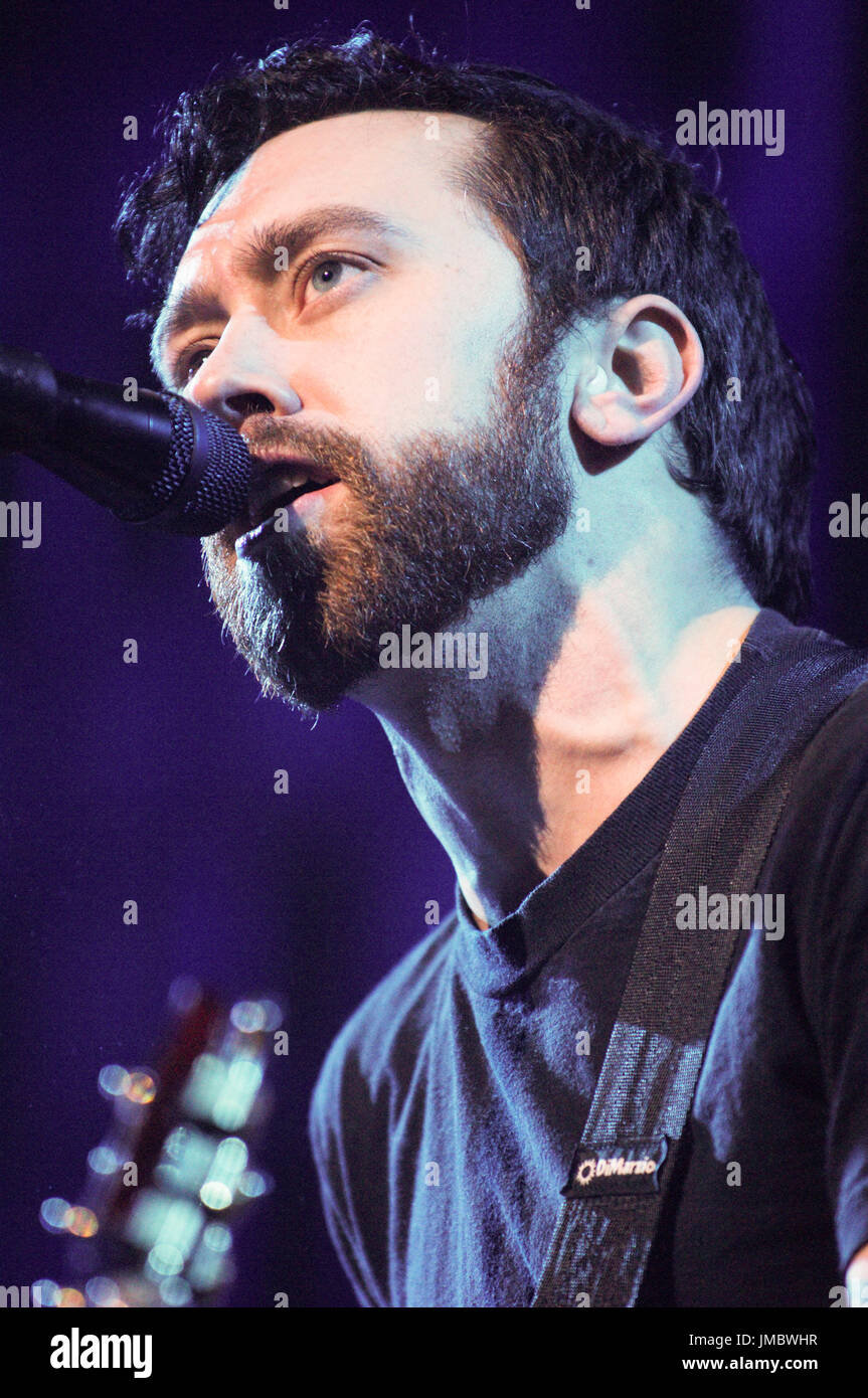 Tim McIlrath Rise Against performing 2007 KROQ Almost Acoustic Christmas Gibson Ampitheatre Universal City,Ca. - Stock Image