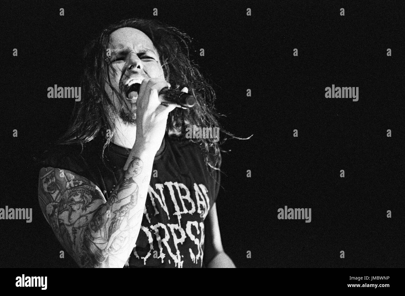 Jonathan Davis Korn performs 2007 Family Values Tour Verizon Ampitheater Irvine. - Stock Image