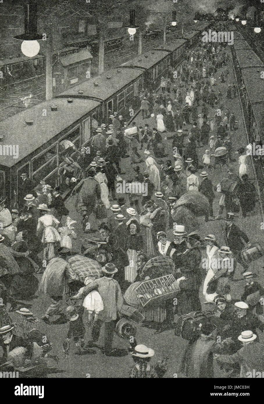last train bound for England,  outbreak of war, September 1914 - Stock Image
