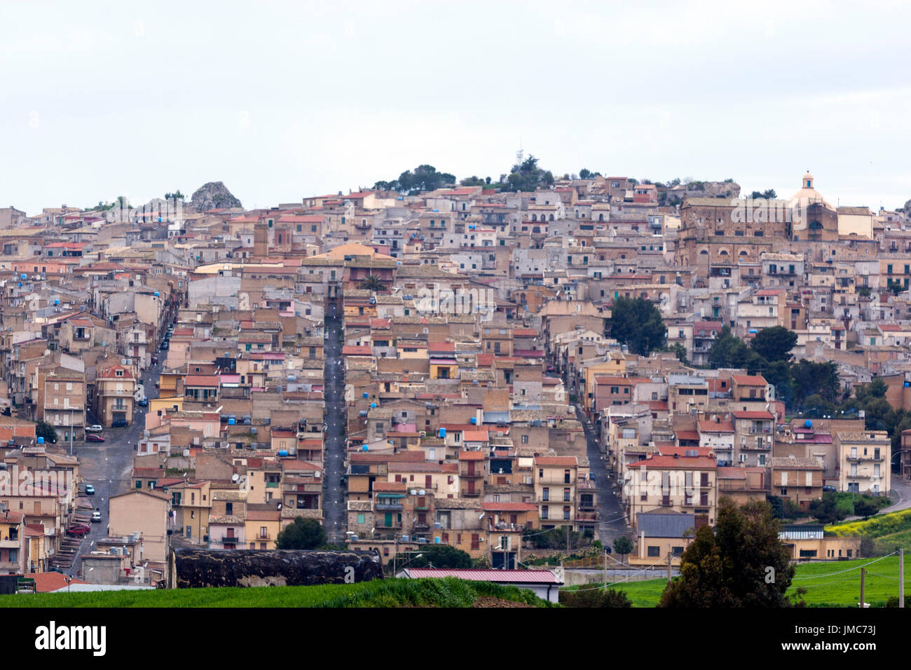 View of a Sicily town with their straight street and avenues, , Italy - Stock Image