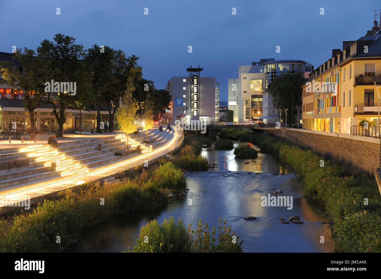 Siegen City Sieg waterside at twilight - Stock Image