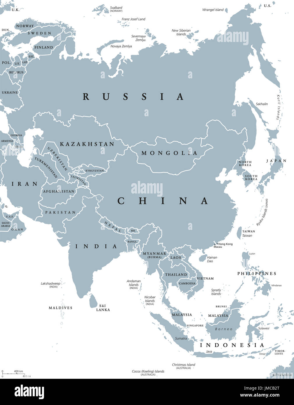 Map Of Asia With Countries Labeled.Asia Political Map With Borders And Countries Largest And Most