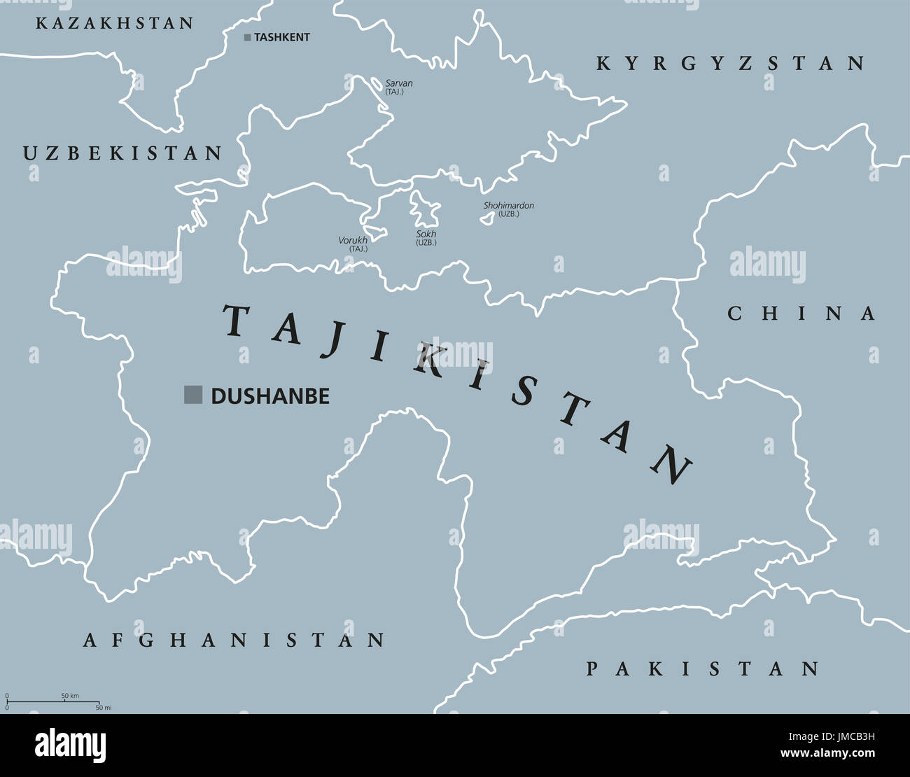 Tajikistan political map with capital Dushanbe and borders. Republic ...