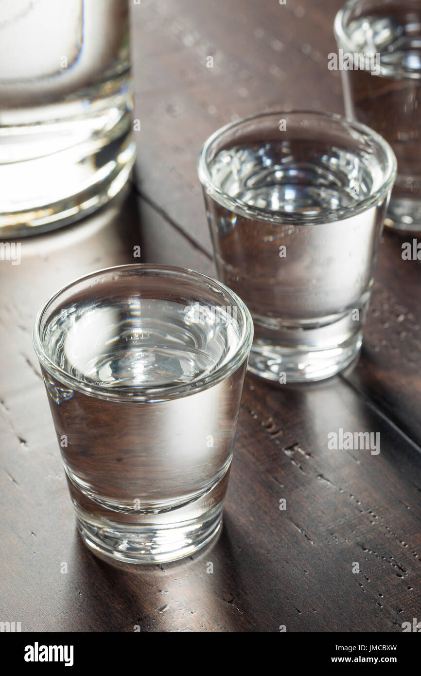 Clear Alcoholic Russian Vodka Shots Ready to Drink - Stock Image