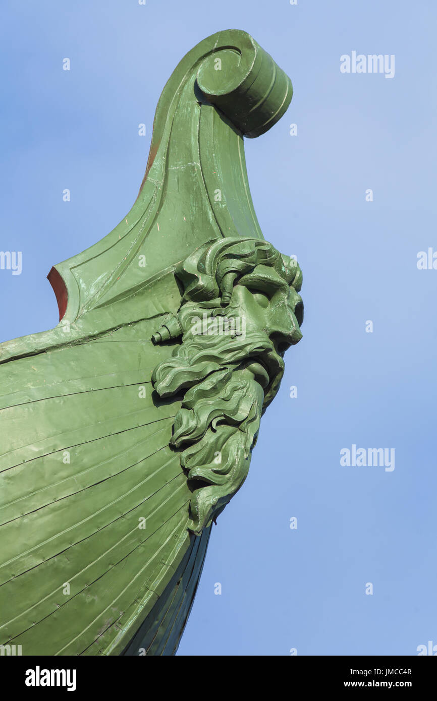 Decorative rostrum of the ship on the rostral column in St. Petersburg - Stock Image
