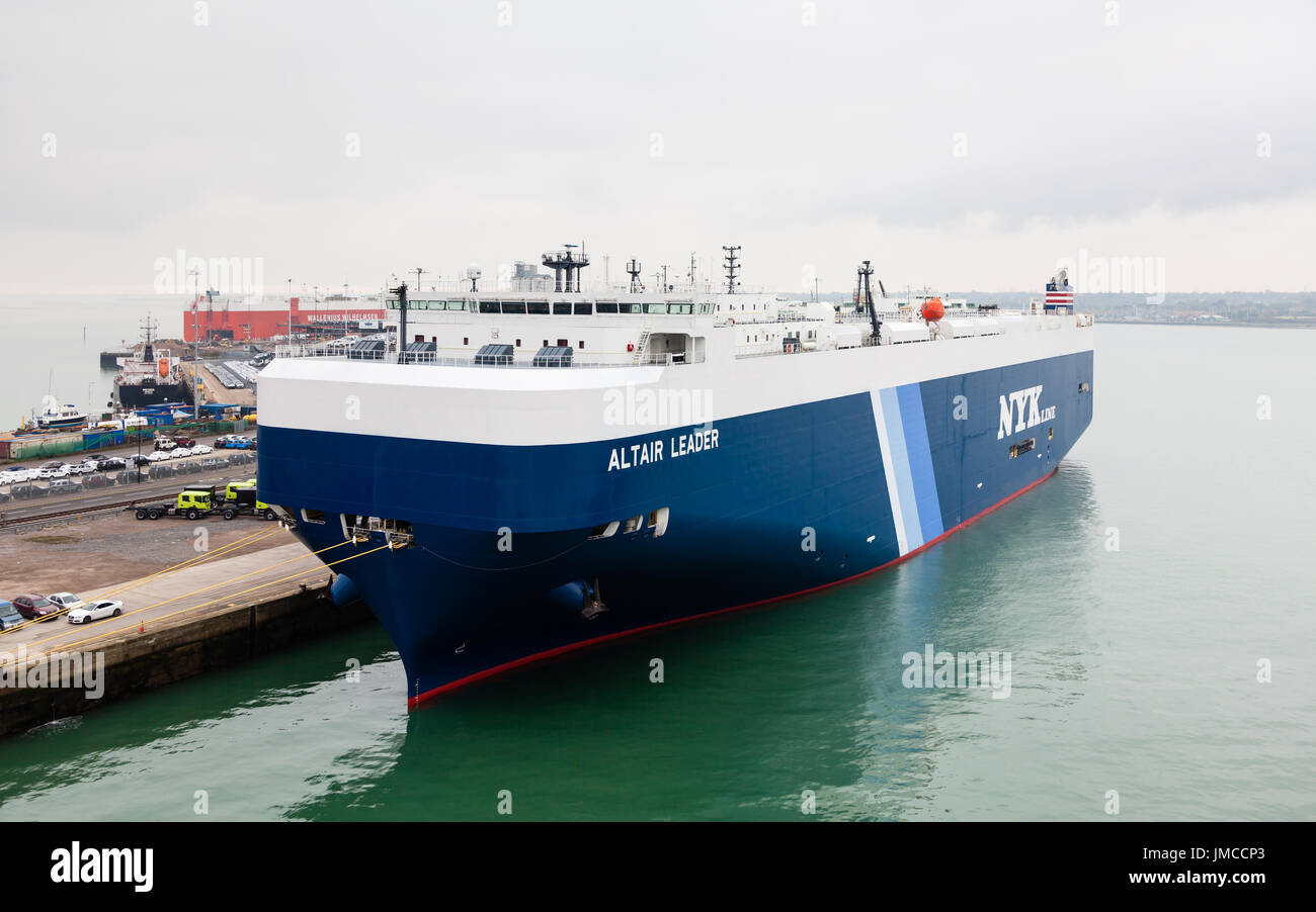 The vehicle carrier Altair Leader docked in the port of Southampton.  The ship is owned by the international shipping company NYK Line. - Stock Image