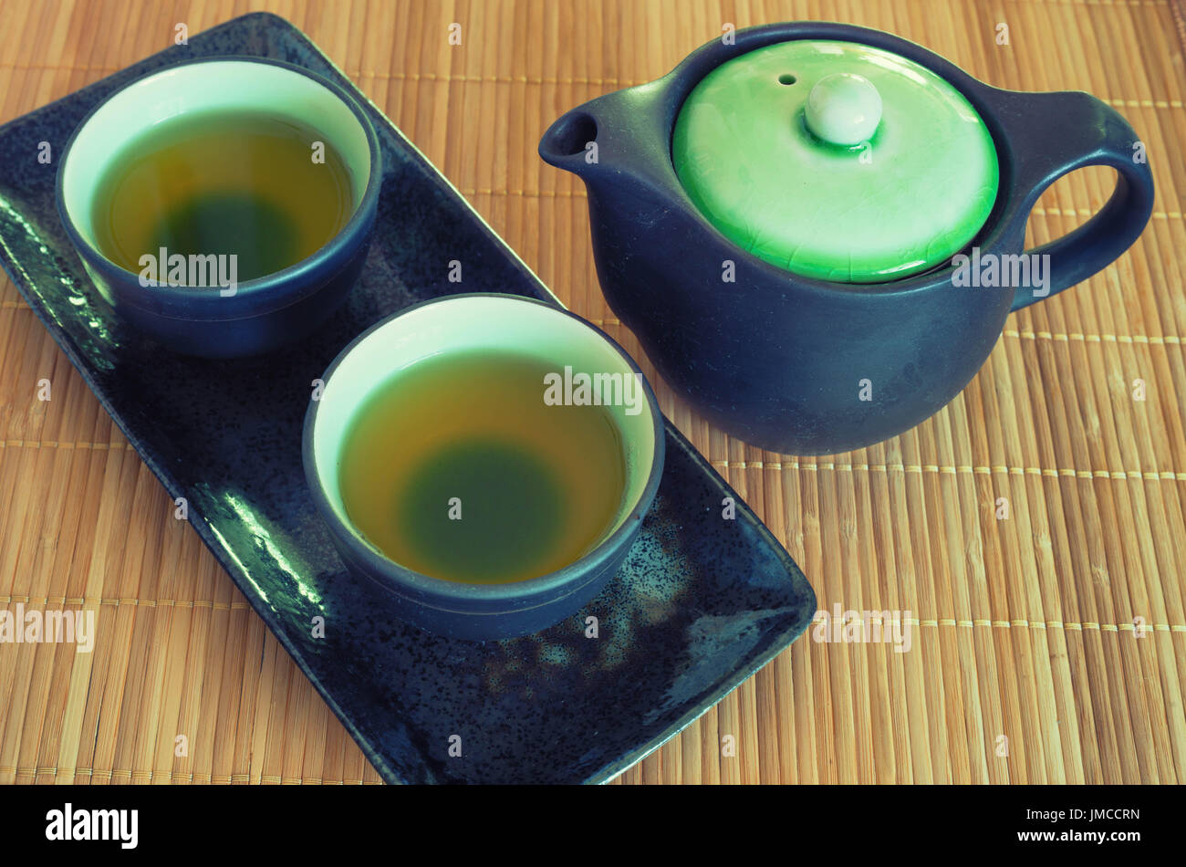 Brewed and healthy Japanese green tea served in traditional hohin and shiboridashi dishes - Stock Image