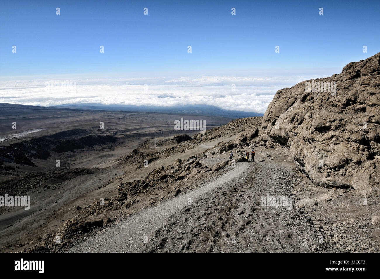 Descent route from Uhuru Peak to Barafu Camp, Kilimanjaro National Park, Tanzania Stock Photo
