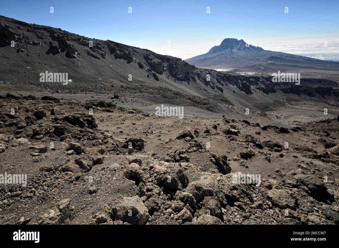 View of Mount Mawenzi during the descent from the summit, Kilimanjaro National Park, Tanzania Stock Photo