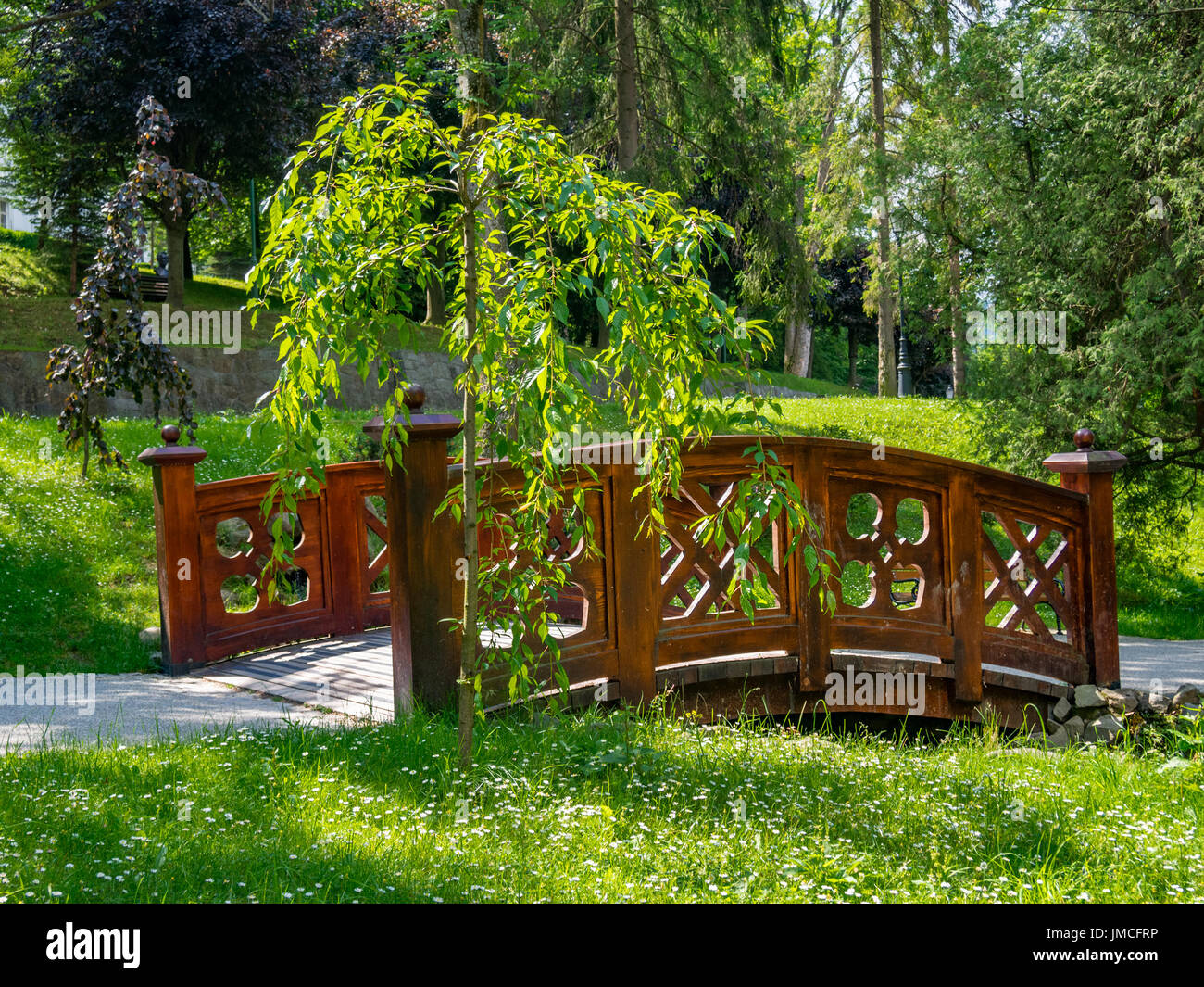Small Wooden Garden Bridge. Szczawnica, Poland.
