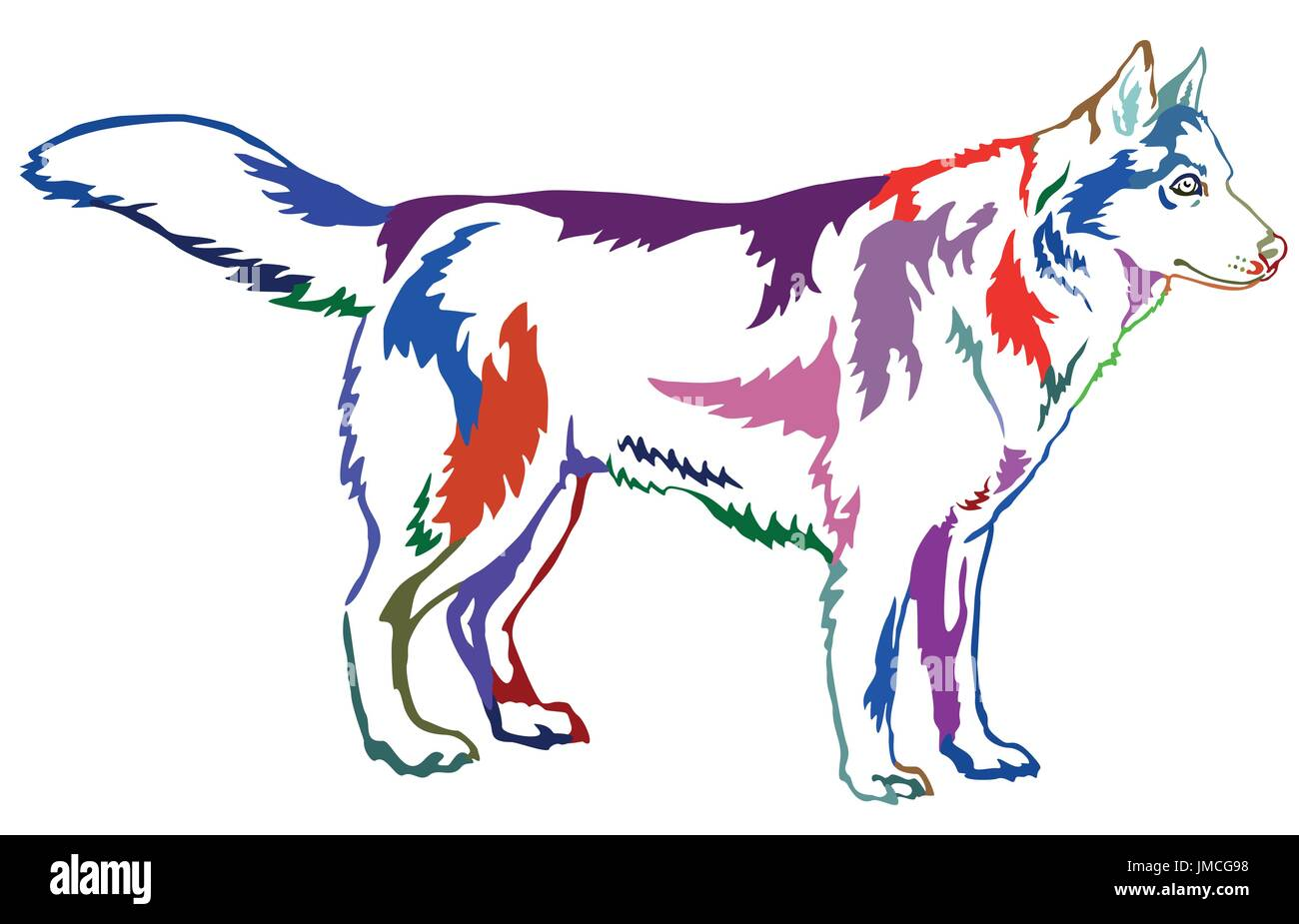 Decorative contour portrait of standing in profile dog Siberian husky, colorful vector isolated illustration on white background - Stock Vector