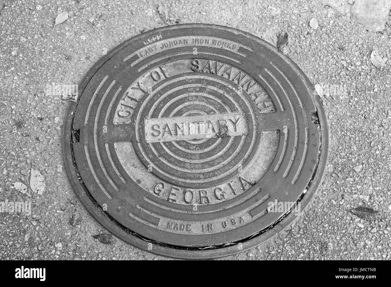 Savannah GA manhole cover - Stock Image