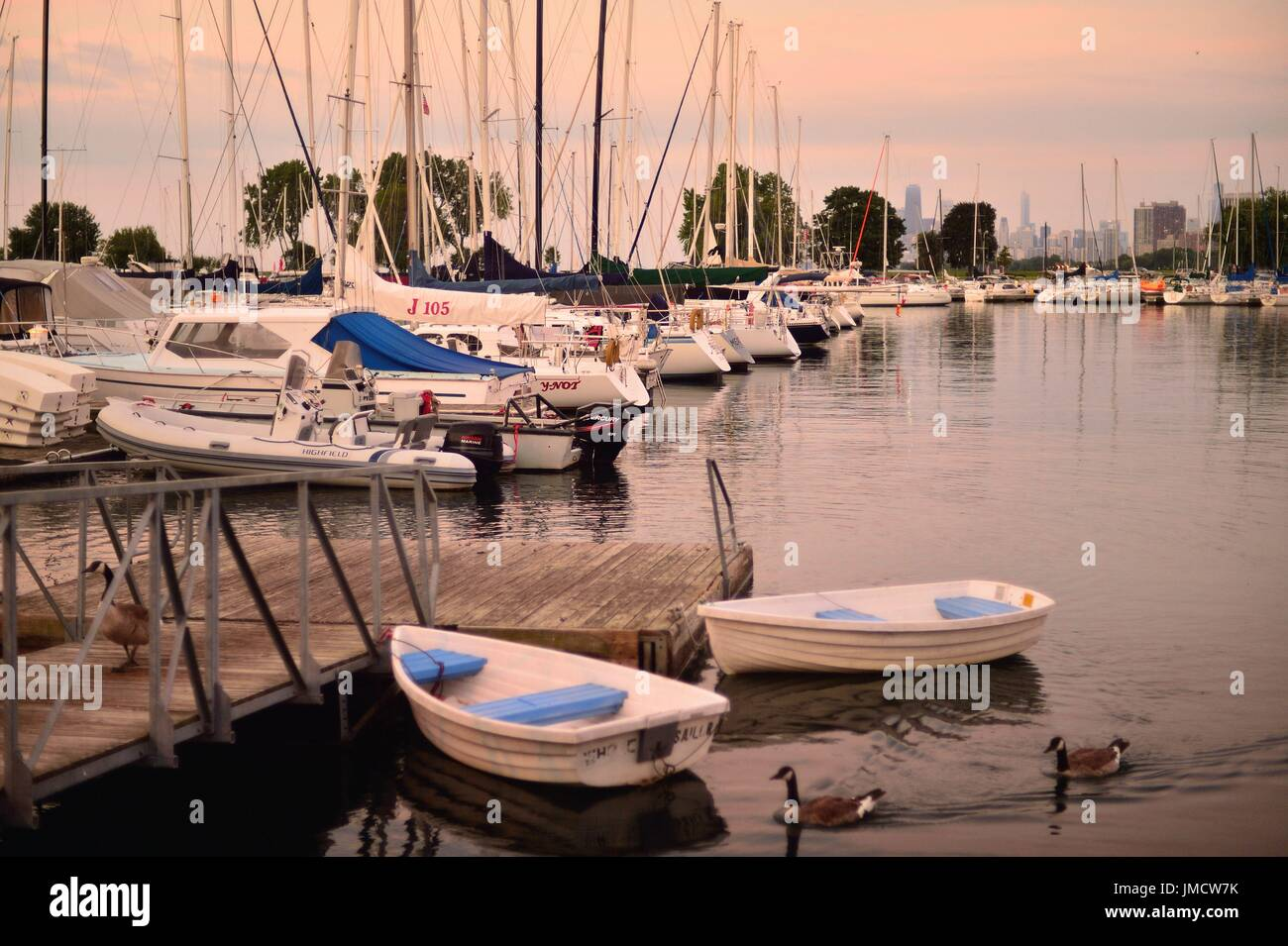 Chicago, Illinois, USA. Sailboats and pleasure craft in berths within Chicago's Montrose Harbor prior to sunrise on a summer morning. - Stock Image