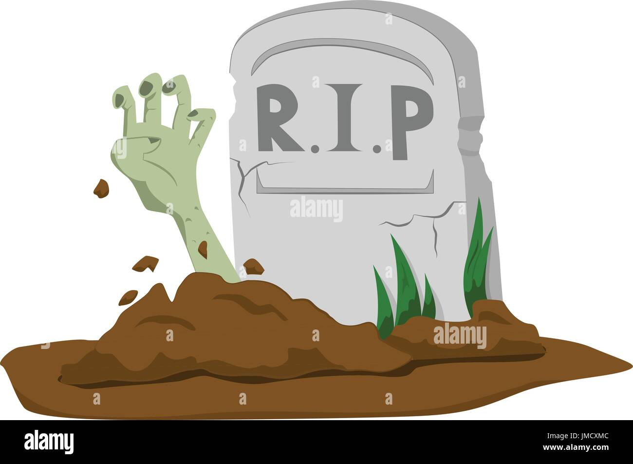 Zombie's hand rising from grave on white background - cartoon vector illustration - Stock Vector